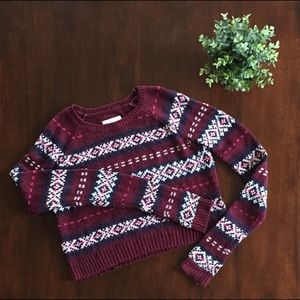 Cropped Burgundy Fair Isle Abercrombie Sweater (S)